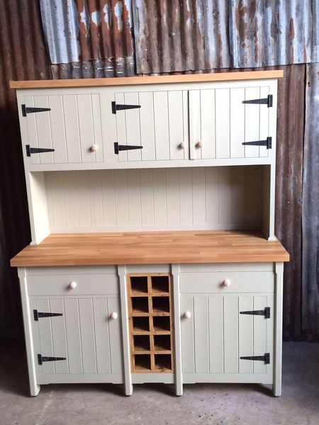 Rustic Xl Pine And Oak Freestanding County Kitchen Welsh Dresser Unit Cupboard