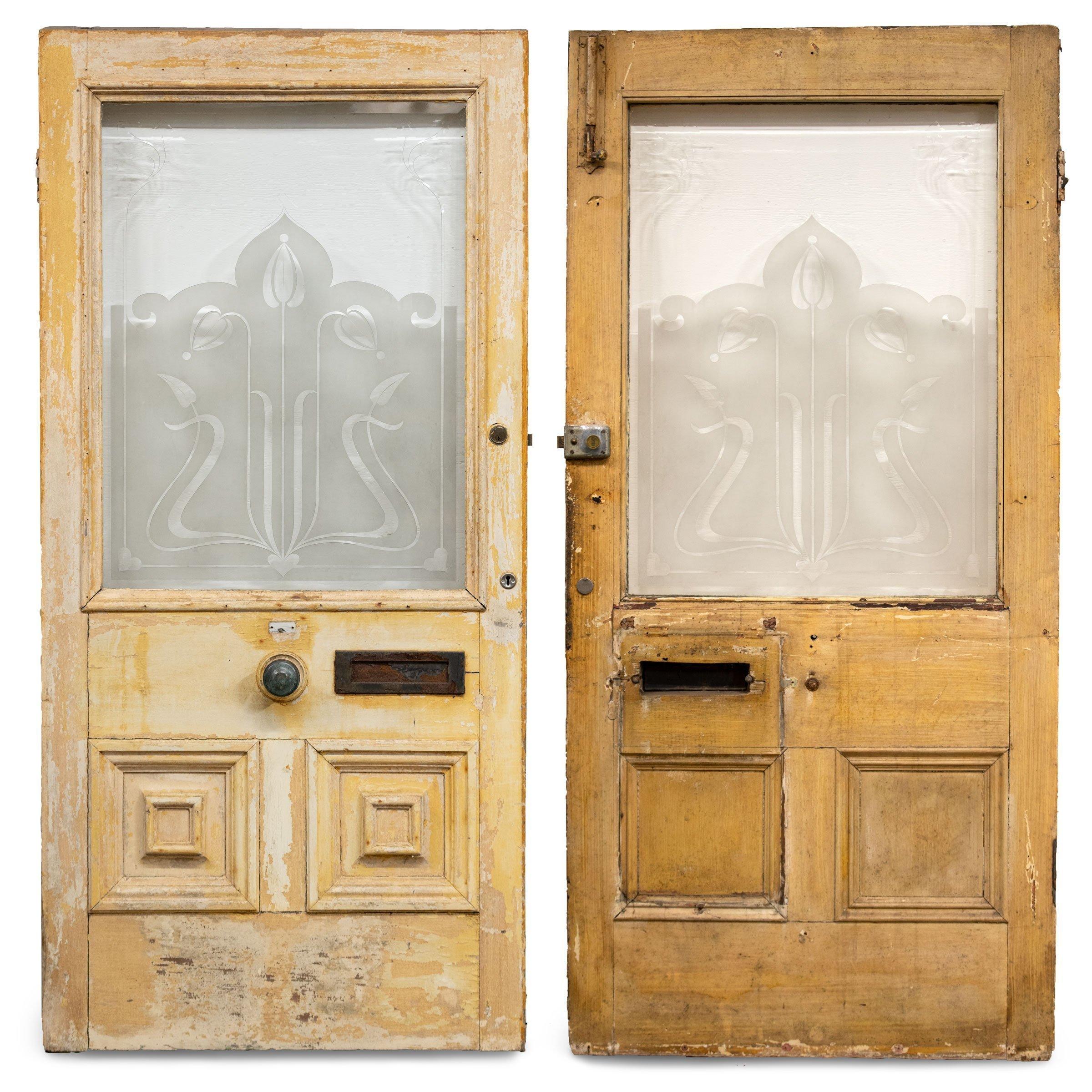 Antique Art Nouveau Frosted Etched Glass Front Door Vinterior