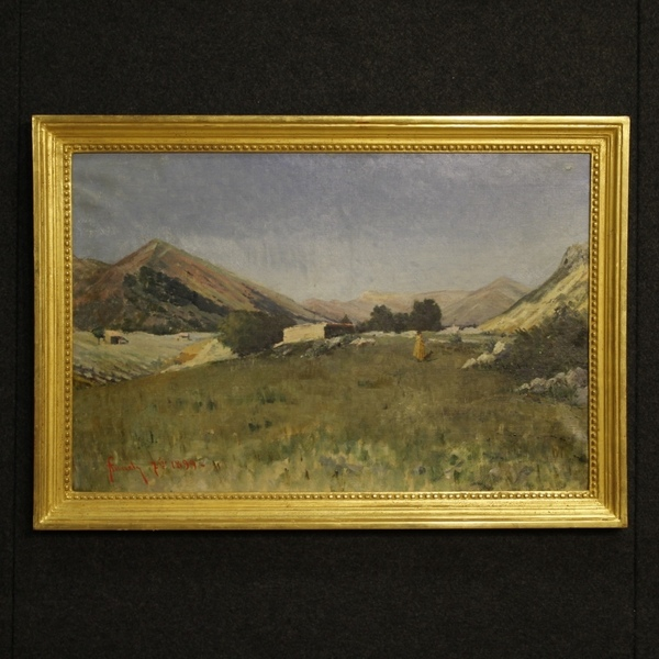 Antique Italian Painting Landscape With Hunter Dated 1899
