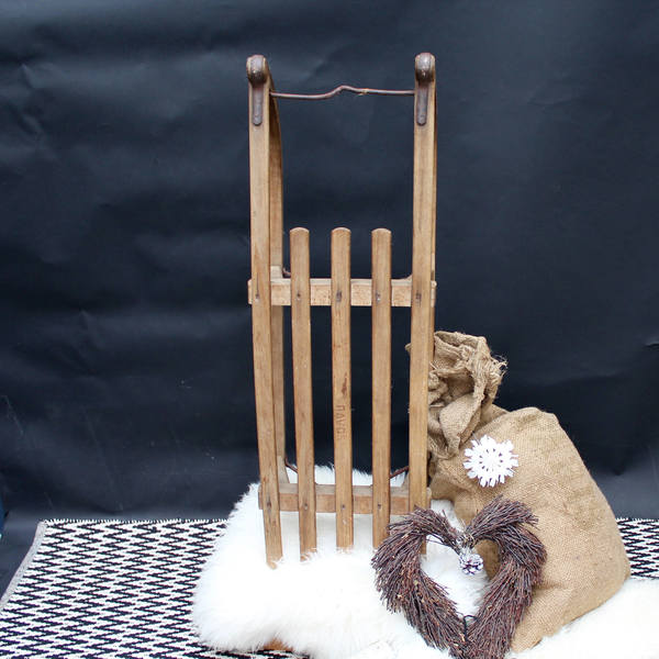 Vintage Davos Sleigh (4), Two Seater Sledge, Wooden Sled, Wooden Sledge