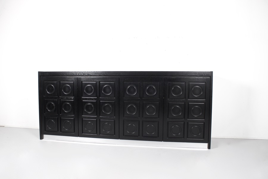 Brutalist Sideboard In Black Oak, Belgium, 1970s