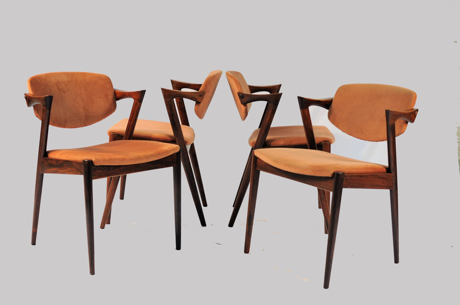 1960s Set Of Six Kai Kristiansen Model 42 Dining Chairs In Rosewood