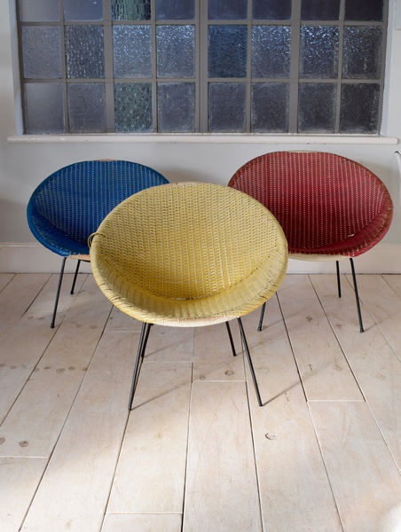 3 Vintage Satellite Circle Cane Wicker Rattan Coloured Chairs Mid Century Chair
