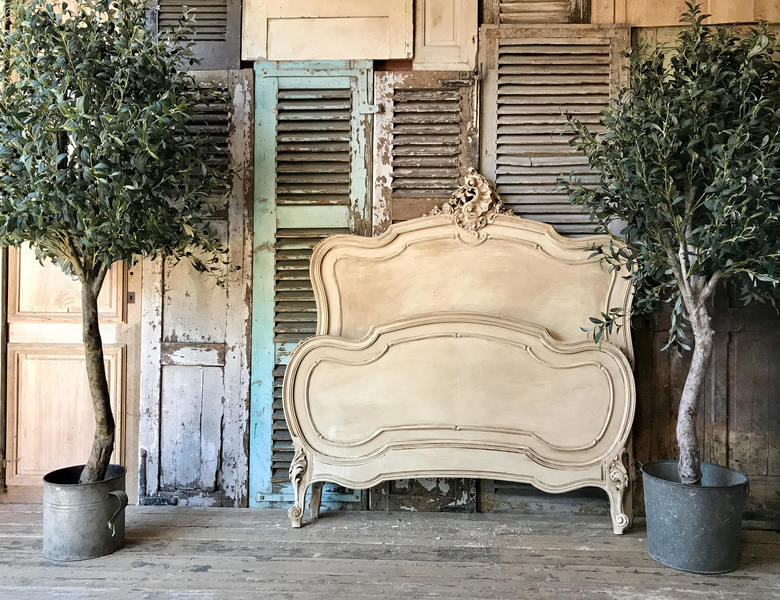 Pretty, Vintage French Hand Painted Louis Xv Double Bed Frame