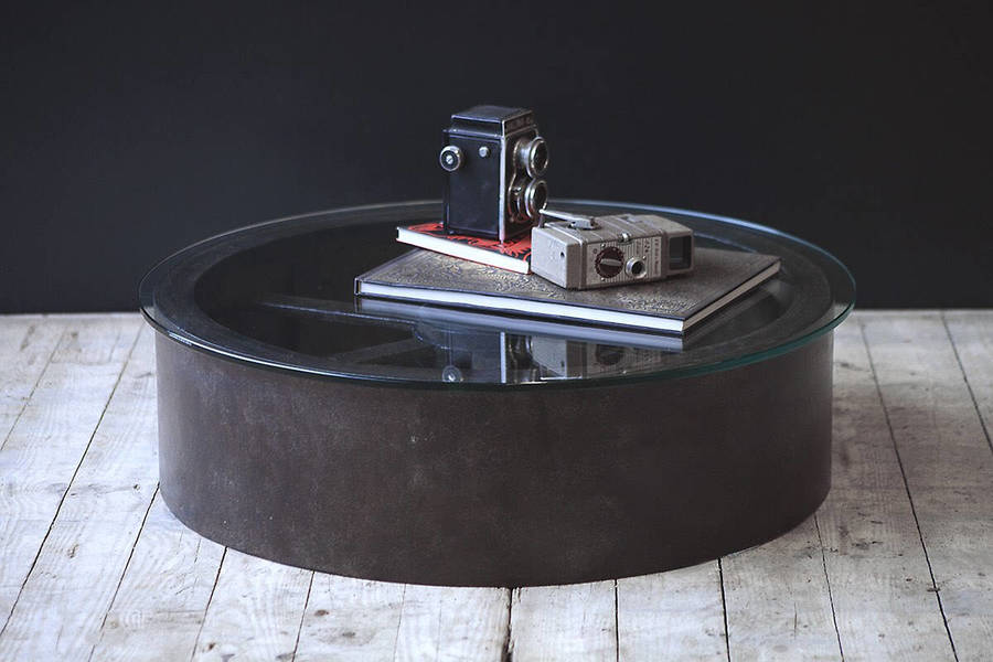 Industrial Upcyled Wheel Coffee Table