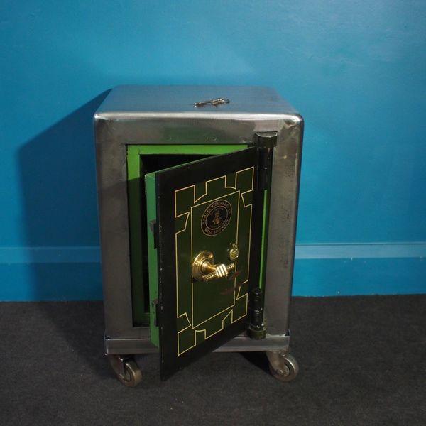 Vintage Samuel Withers & Co. Safe With 2 Keys, Set On Bespoke Steel Trolley