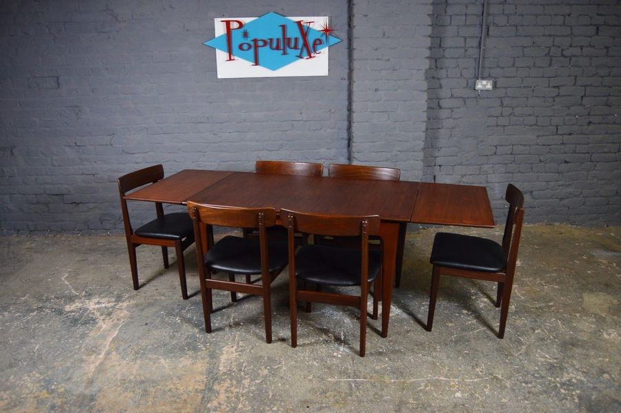 Vintage Retro Mid Century Younger Extending Teak Dining Table And Six Chairs