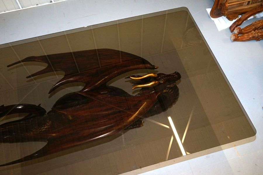 Rrp 22000 Mahogany Neil Busby Dragon 12 Person Dining Table Ruby Eyes 22ct Gold Neil Busby Vinterior
