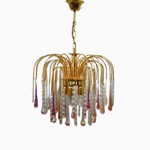 Murano Venetian Style Chandelier Lighting with Pink Crystal
