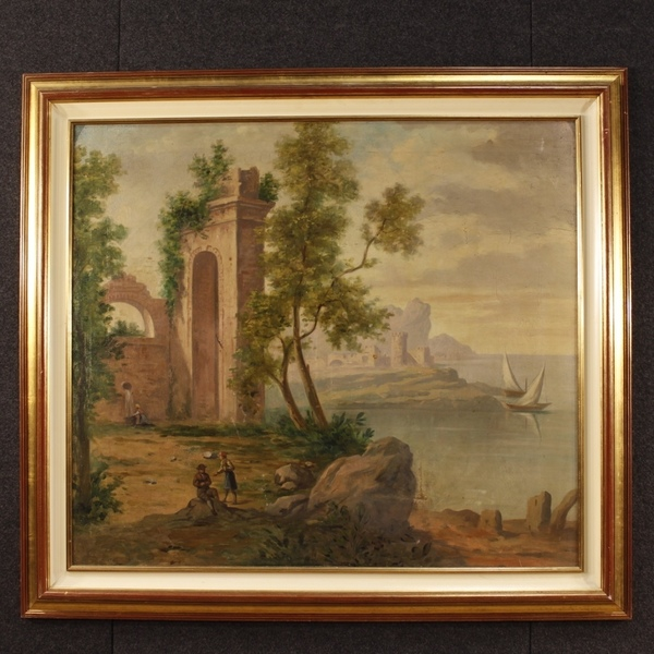Italian Painting Seascape With Ruins And Characters