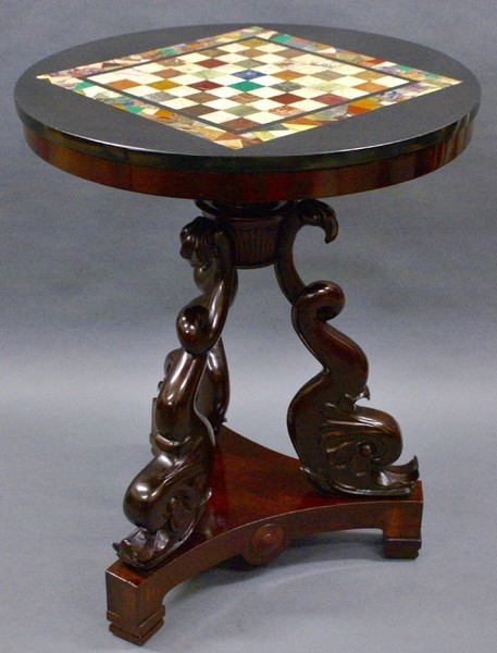 A 19 Th Century Carved & Marble Chess Table