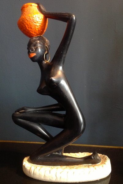 1950s Plaster Statue Of A Nubian Woman