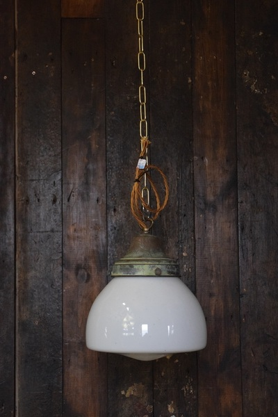 'Raj' Medium Sized Opaline White Glass Pendant Light With Distressed Brass Gallery