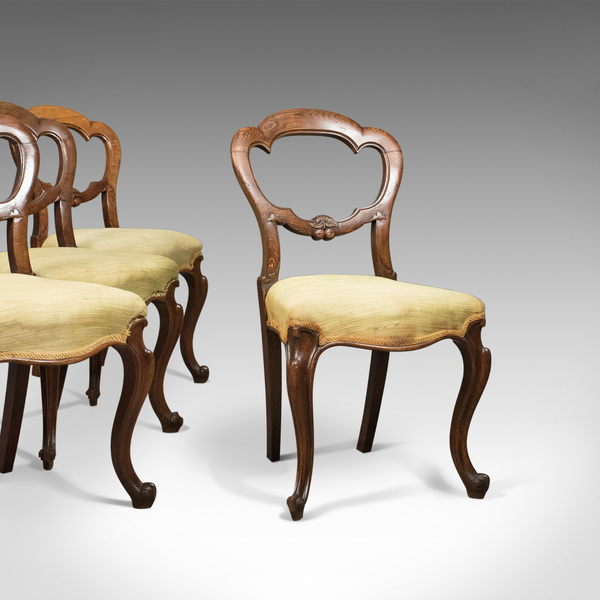 Antique Set Of 4 Oak Dining Chairs, English, Victorian, Balloon Back, C.1860