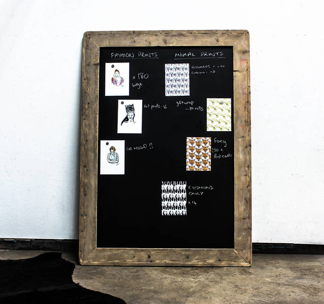 Laura Large Chalkboard With Reclaimed Scaffolding Board Rounded