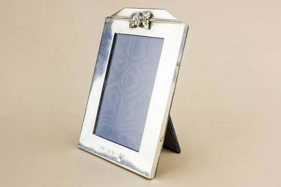 Elegant Modernist Small Unique Rectangular Silver Frame Vintage Decor Italian Late 20th Century / Pre Xmas Delivery Gift