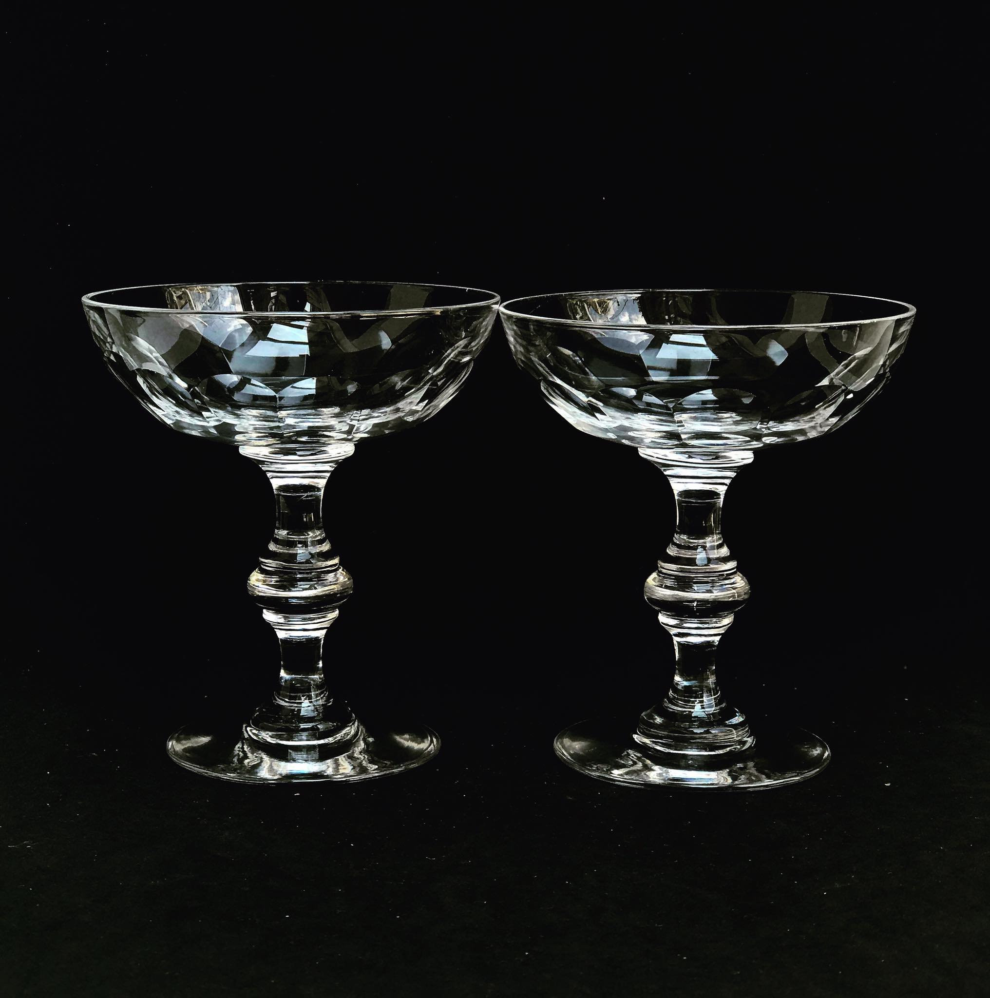 Champagne Glasses Set 2 Crystal Val Saint Lambert Liquor Cocktail Low Sherbet Coupes 1920s Art Deco Vintage Bar Cart Wedding Decor Gift Val Saint Lambert Vinterior