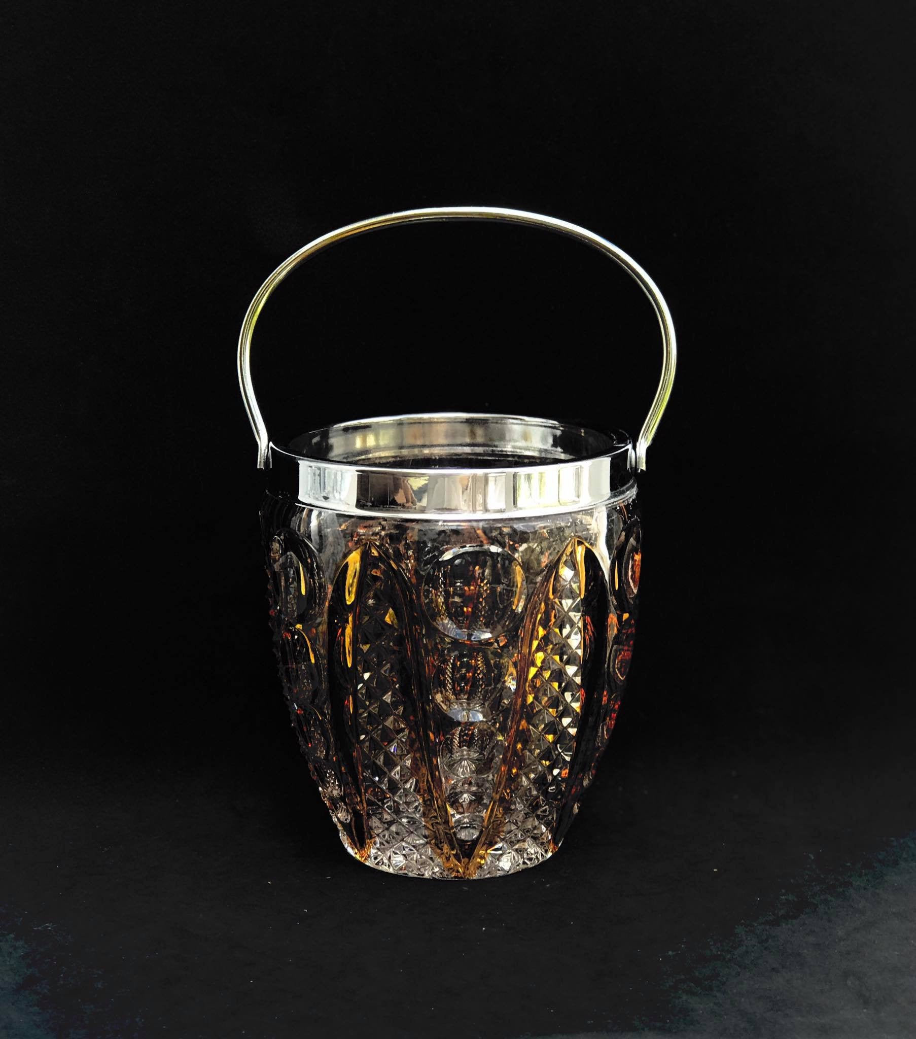 Amber Glass Ice Bucket Crystal Cut Heavy Bar Christmas Gift Bar Cart Decor Mid Century Vintage French Unknown Vinterior