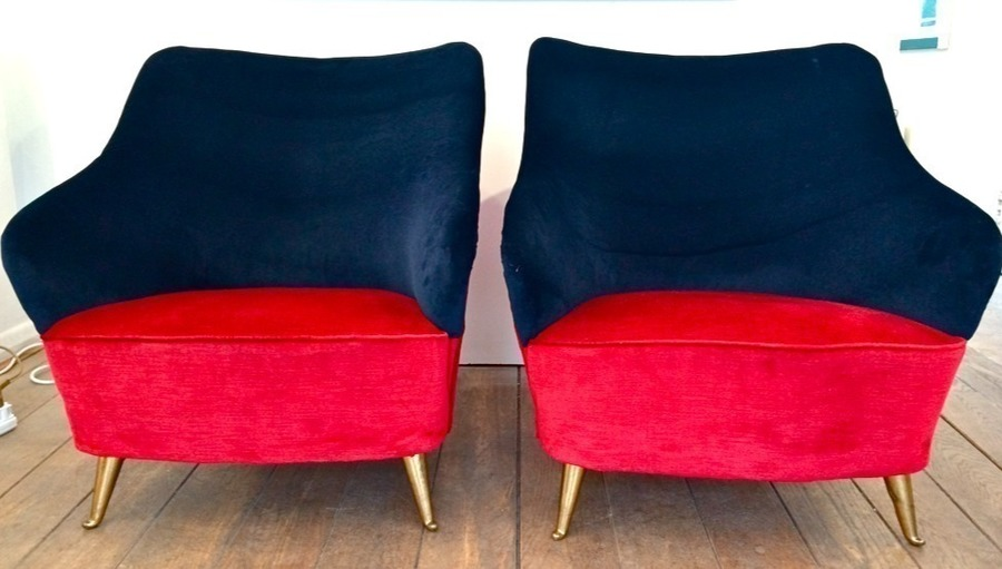 Pair Of Italian Cocktail Chairs In Red And Navy Blue Velvet