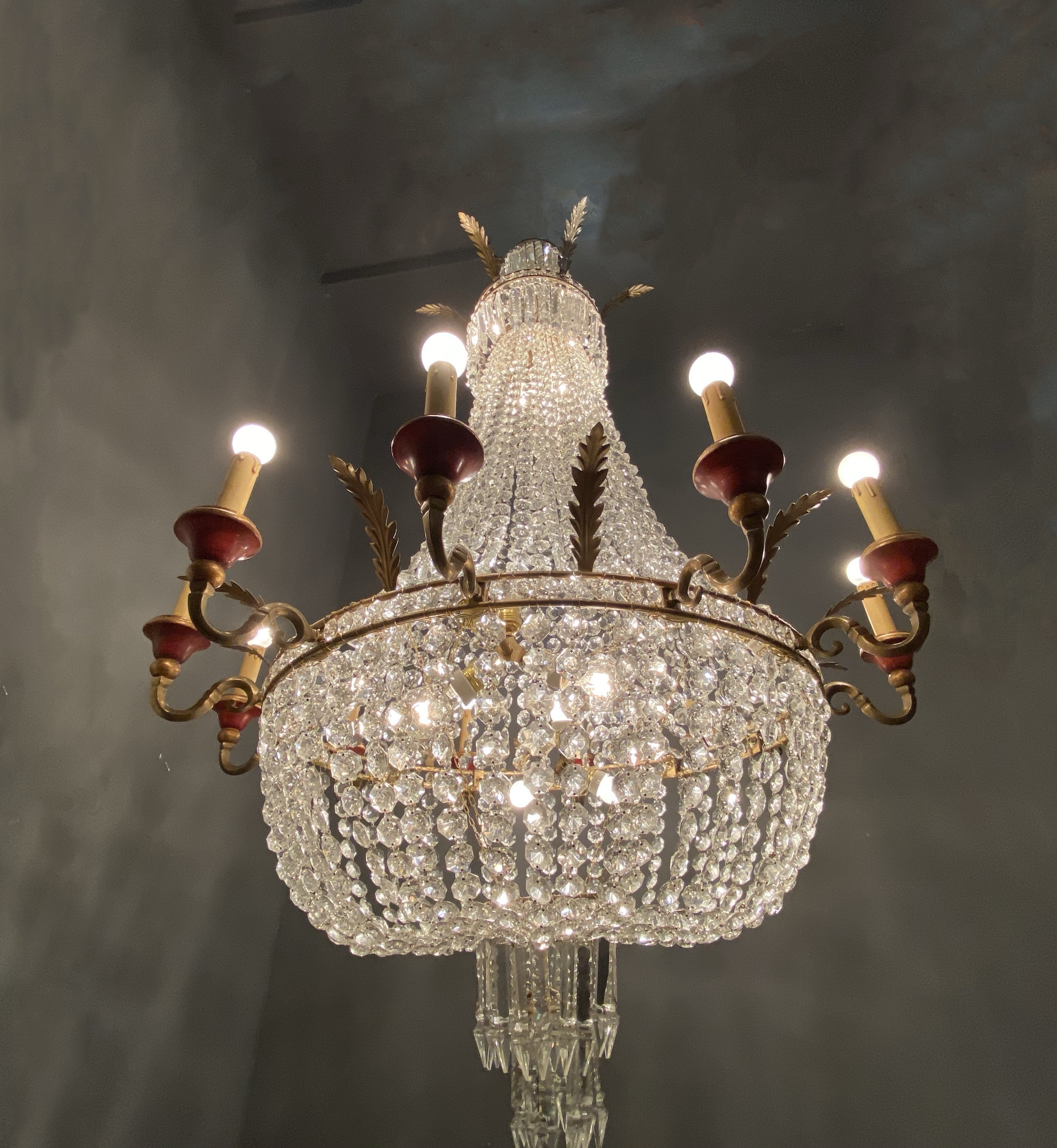 Crystal chandelierceiling light fitting from the 1950s