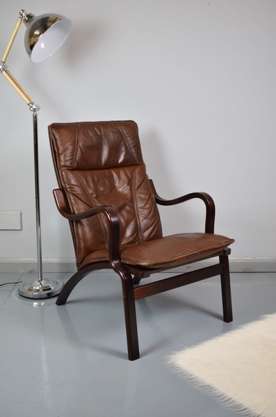 Mid Century Retro Danish Brown Leather Lounge Arm Chair By Stouby 1970s