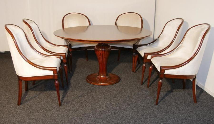 Mahogany Art Deco Dining Set Table And Six Chairs Vinterior