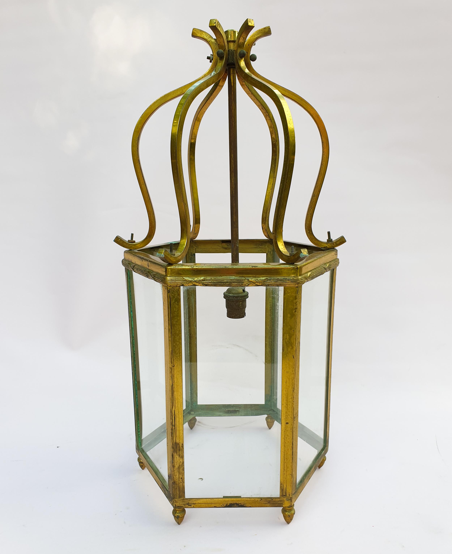 Vintage Brass and Glass Hexagonal Lantern Chandelier