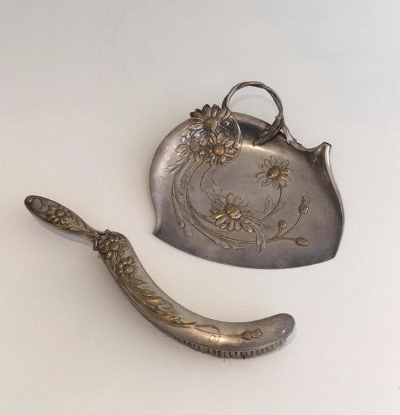 Art & Crafts Silver Plated And Brass Crumb Scoop
