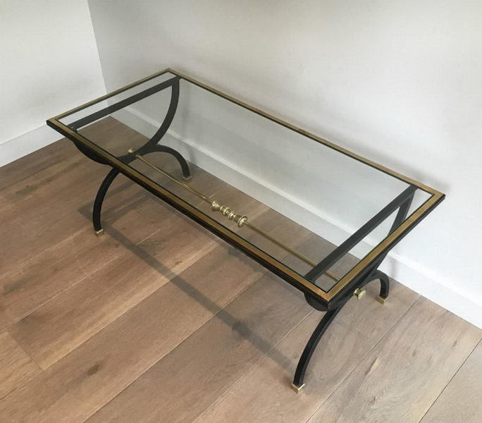 Neoclassical Black Steel And Brass Coffee Table. Circa 1950