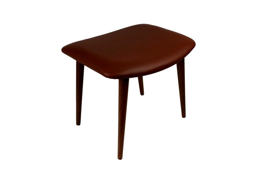 Danish Mid Century Teak Ottoman Upholstered With Brown Aniline Leather