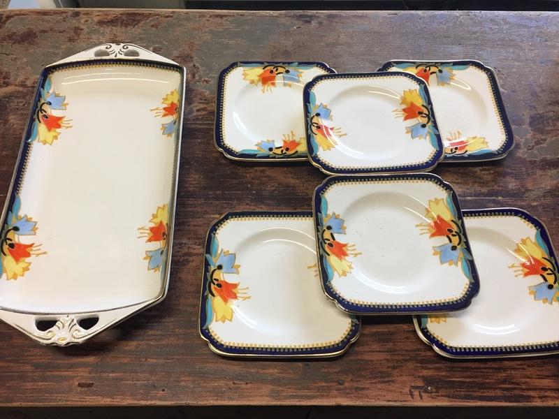 Bursley Ware Deco Sandwich/Cake Platter And 6 Matching Tea Plates