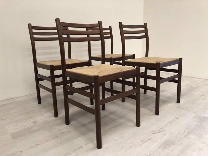 Teak Paper Cord Woven Ladder Back Dining Chairs