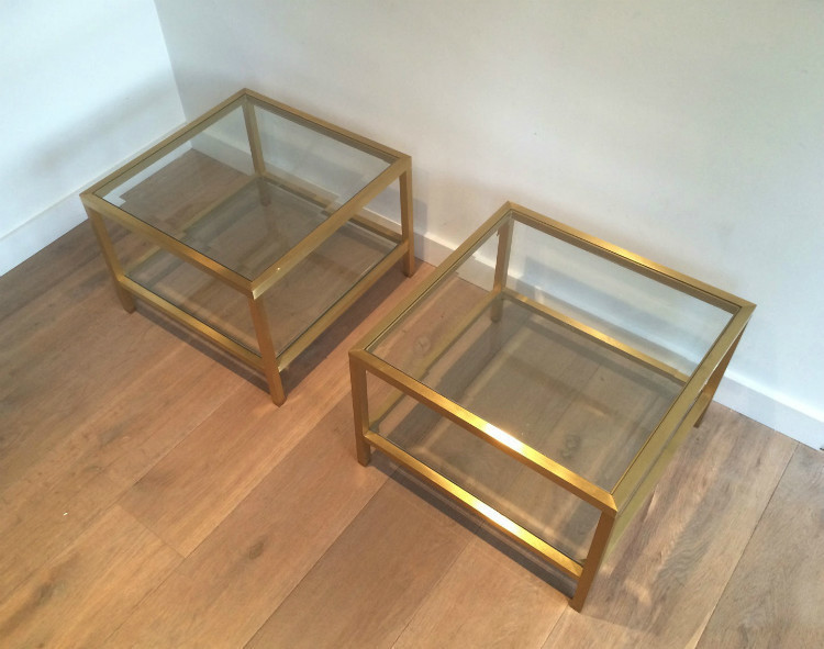 Pair Of Anodised Brass Side Tables. Circa 1960