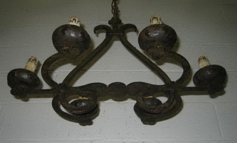 Old Small Wrought Iron Chandelier