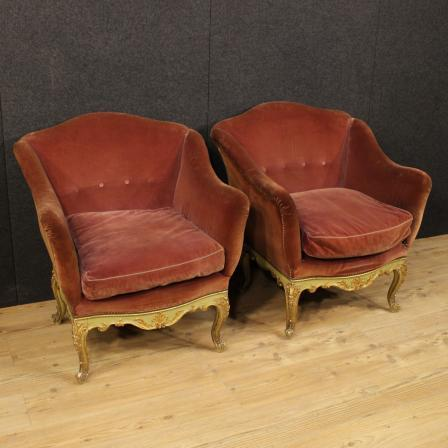 Pair Of Venetian Lacquered Armchairs