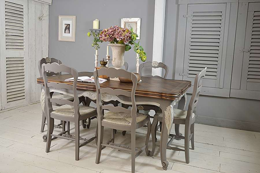 Extending French Shabby Chic Vintage Dining Set (Grey)