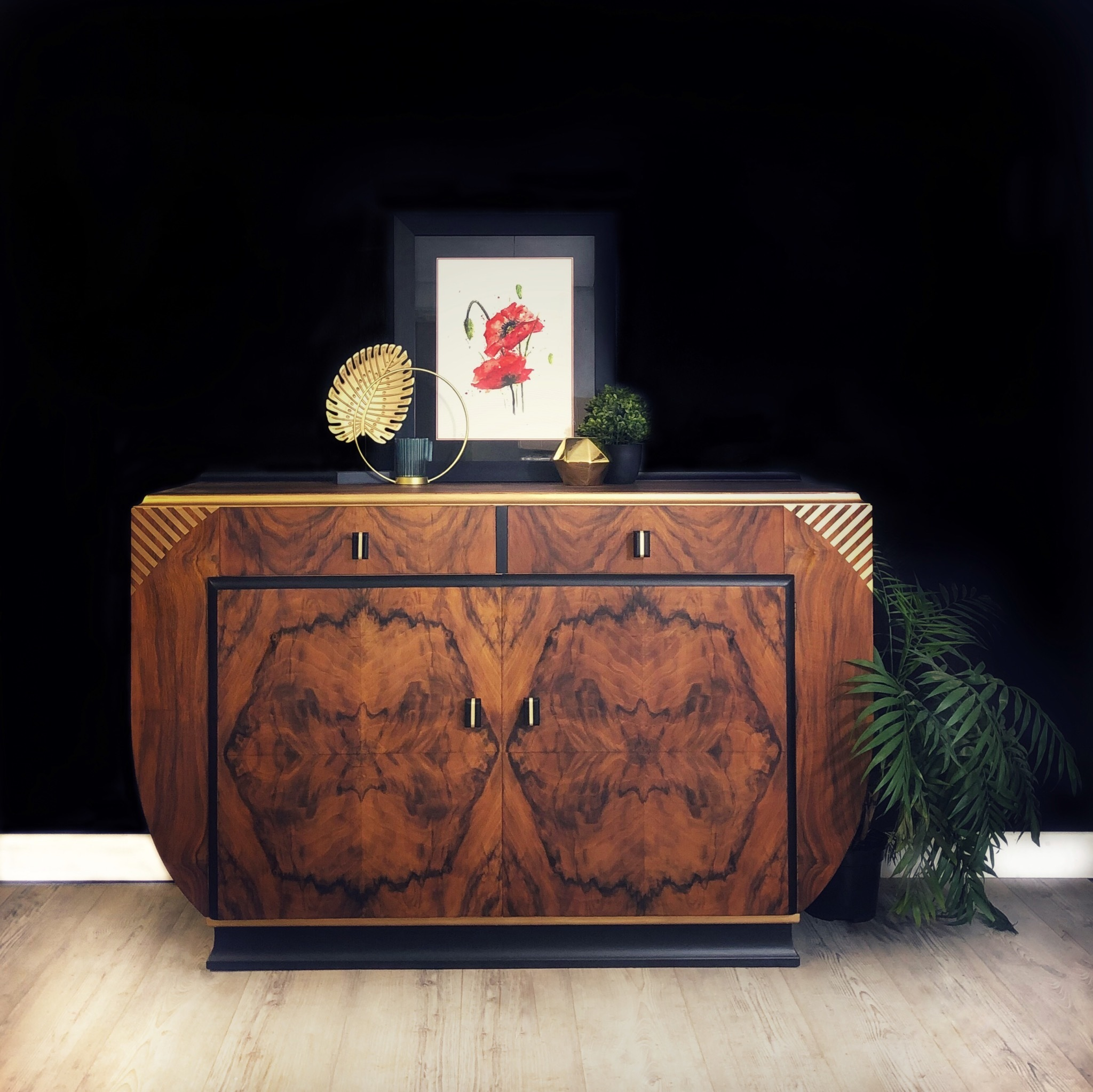 Picture of: Art Deco Sideboard Art Deco Drinks Cabinet Burr Walnut Black And Gold Buffet Server Retro Cocktail Cabinet Grant Vinterior