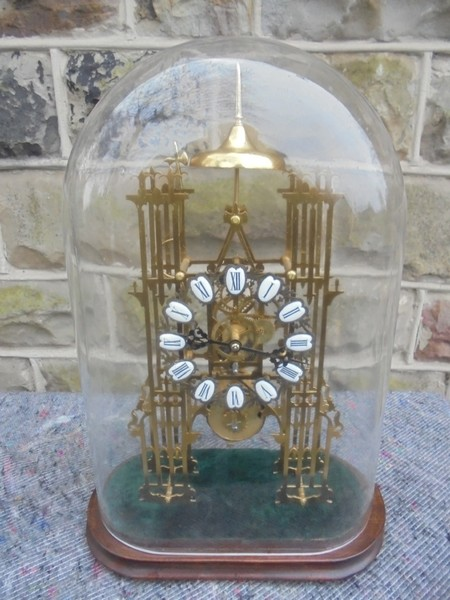 Antique Cathedral Skeleton Clock Under Glass Dome