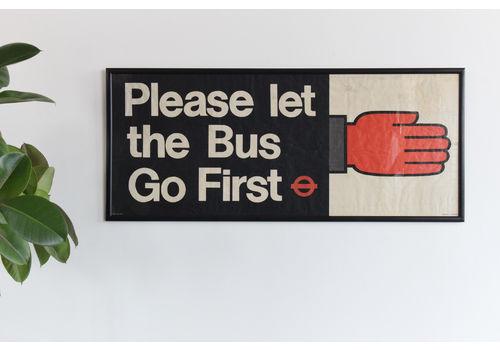 Vintage Original Please Let The Bus Go First Framed British Transport Poster Banner
