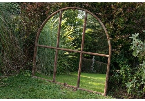 19th C Cast Iron Arched Window Mirror
