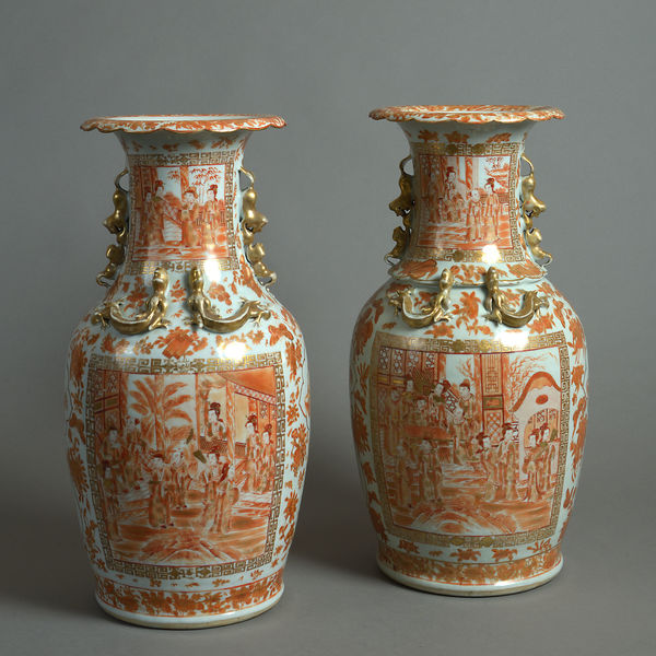 19th Century Pair Of Baluster Porcelain Vases