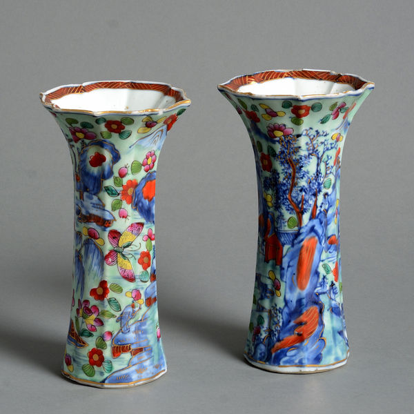 A Pair Of 18th Century Clobbered Porcelain Trumpet Vases