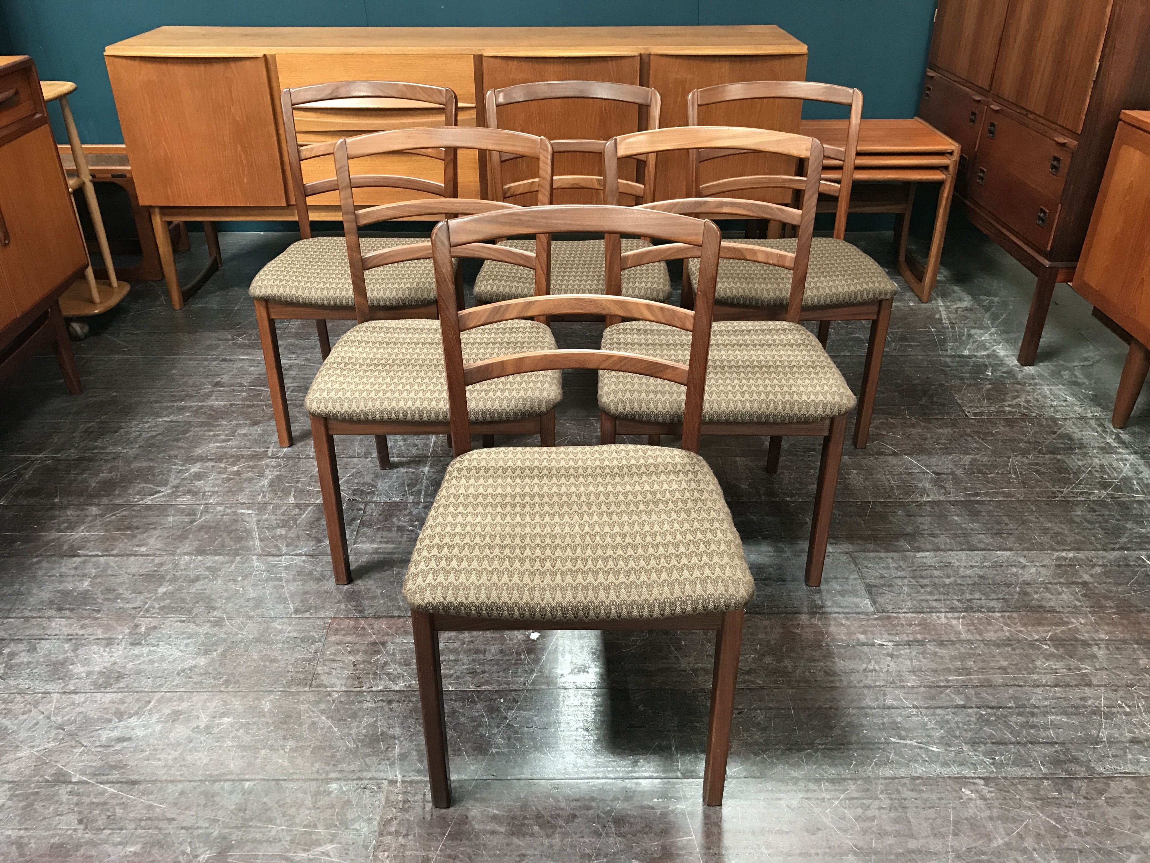 Set Of 6 G Plan Teak Dining Chairs In Bute Fabric G Plan Vinterior