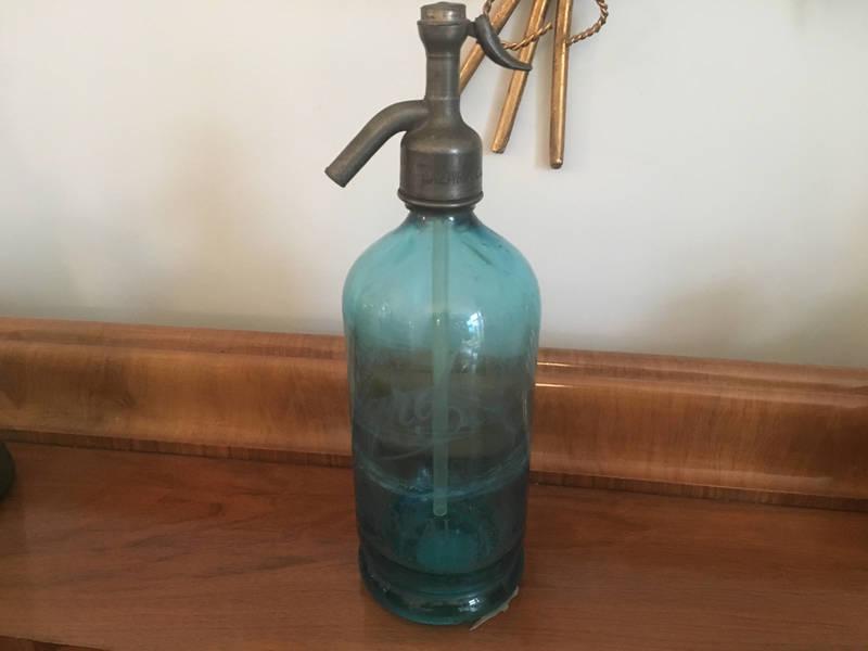 Gorgeous Blue French Paris Seltzer/Soda Bottle Etched Glass 'Cazard' Original Syphon