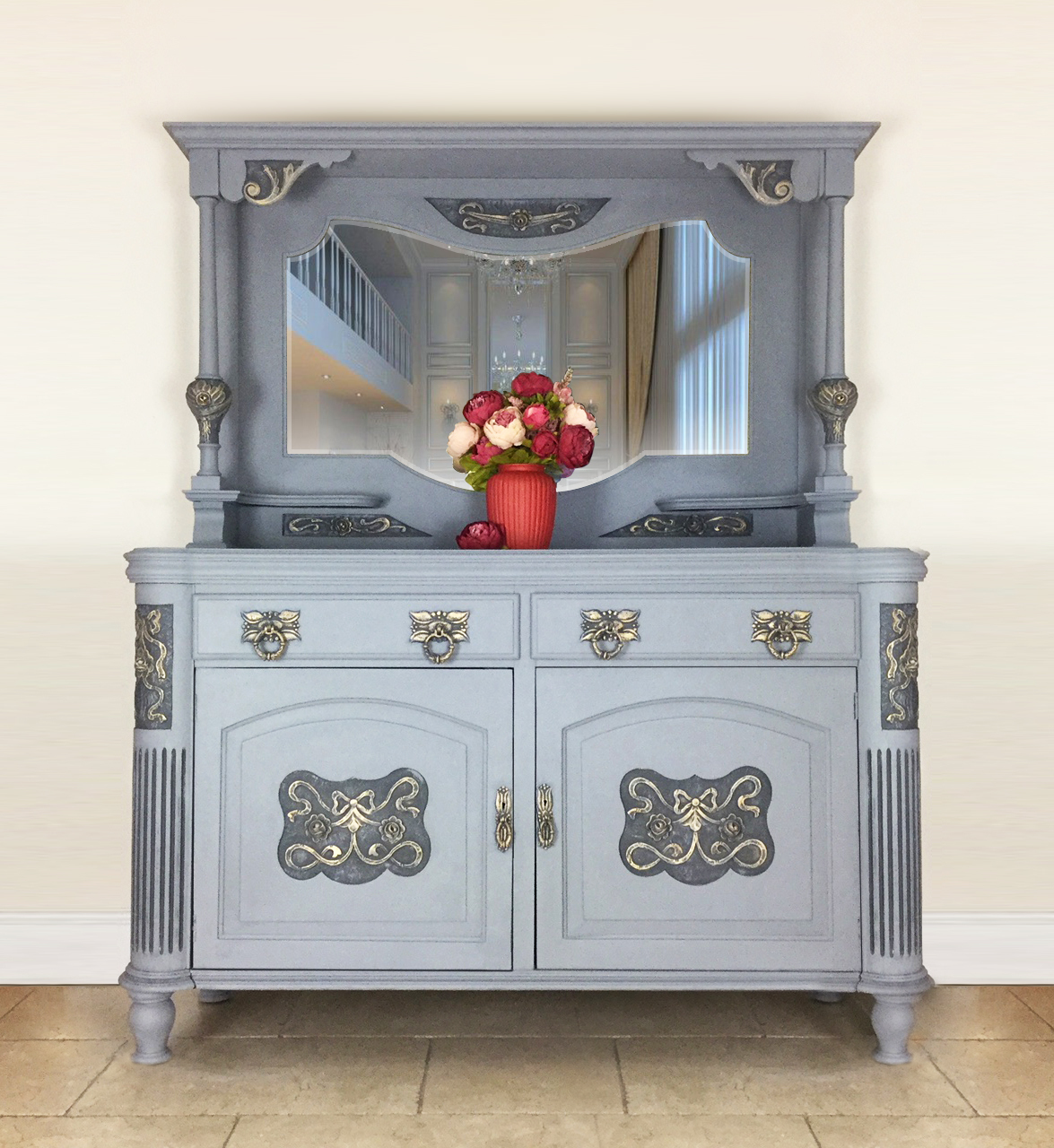 Office Valentines Day Decorations, Grey Vintage Mirrored Sideboard Dresser Living Room Dining Room Furniture Kitchen Storage Cabinet Vinterior