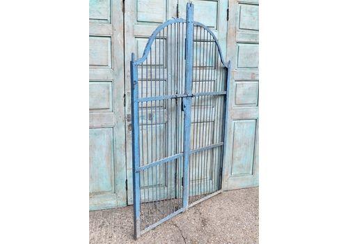 Decoratively Forged Antique Blue Iron Gates, India.