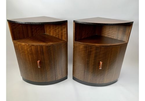 A Pair Of Flamed Walnut Art Deco Bedside Cabinets By Wolfe And Hollander