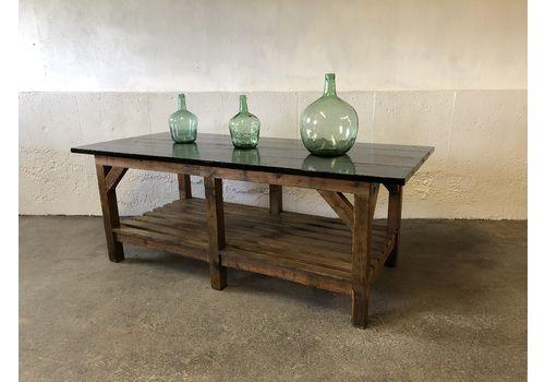 Antique Pine & Chestnut Work Bench Kitchen Island Preparation Pot Board Hall Shop Display Table Inc Del Eng/Wales