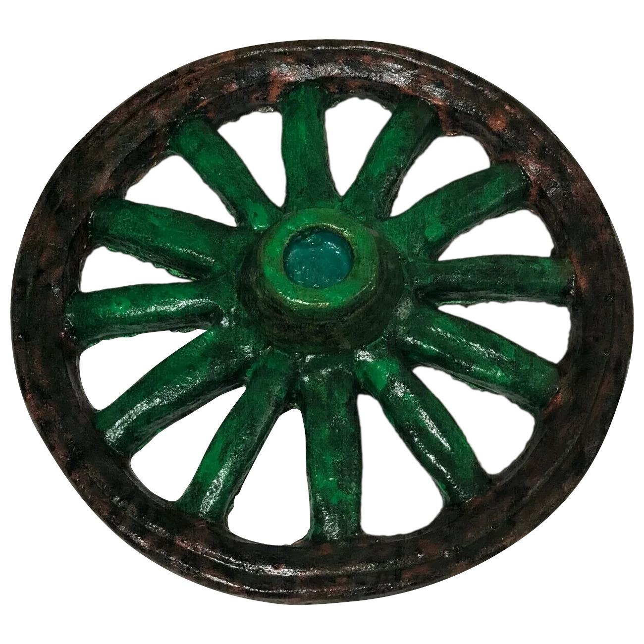 Fine Hand Painted Architectural Bronzed Stone Garden Wagon Wheel Display Ornament Statue Vinterior