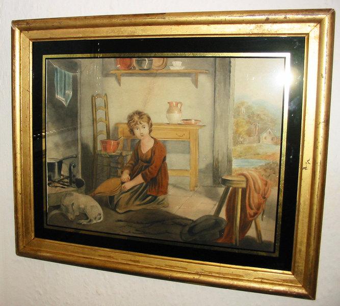 Antique Water Colour Painting   Primitive School, Cottage Interior, Folk Art, 19th C